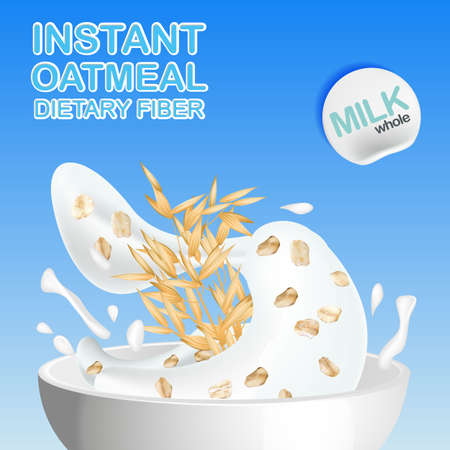 bowl of cereal: Oatmeal with milk, pouring the Cup and elements of the oats, with spikelets of cereals. Vector illustration.