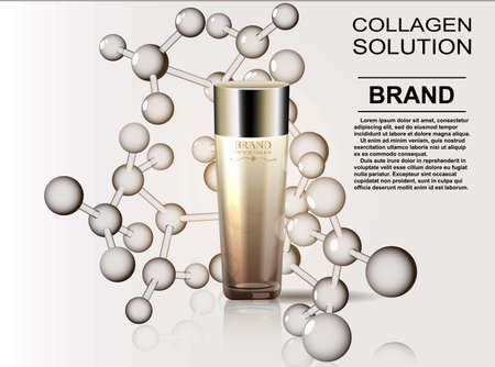 Pattern cosmetic ads, glass bottle drops of essence oil isolated on the formula of the molecule. Ilustração