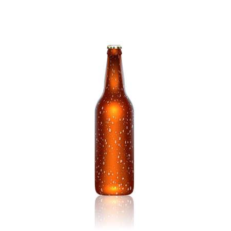 drunken: Brown realistic frozen bottle of beer. 3d illustration.