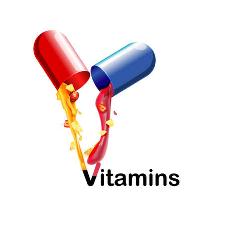 zinc: Medical vitamins and minerals the background. Tablets, health, capsules pharmaceutical pour the juice with the fruit. 3d Illustration