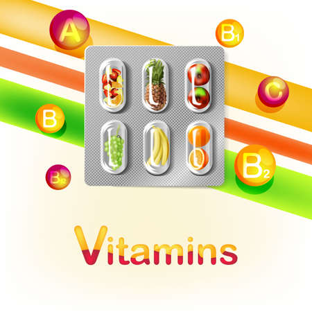 Blister pack of pills with fruit. Vitamins. Vector illustration.