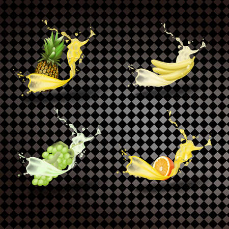 Pineapple, banana, grapes, orange juice. Fresh fruit and squirt, 3D icon vector