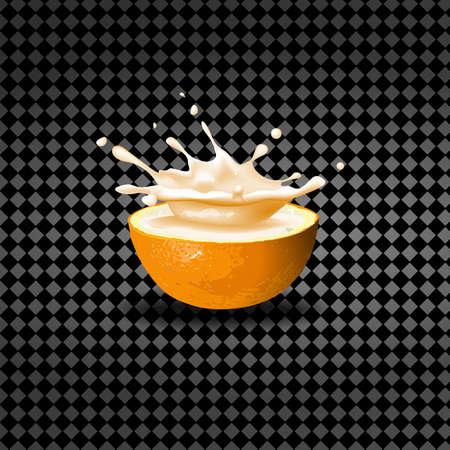 A splash of milk in orange, Template packaging for yogurt and juice.