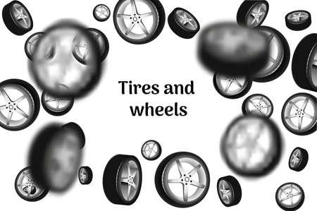 rim: Car wheels falling down. Illustration