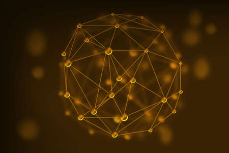 human evolution: vector abstract gold geometric lattice, the scope of molecules, the molecules in the circle. Round composition of the molecular lattice.