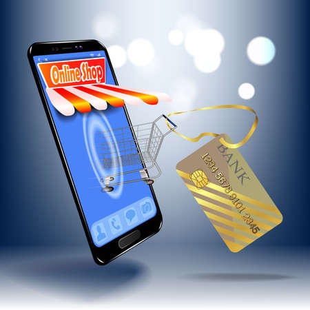 Online shopping in the online store on your mobile phone. Çizim