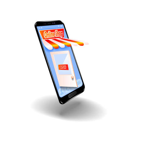 Online shopping in the online store on your mobile phone. Illustration