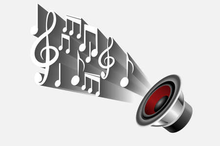 Speaker with musical note icon. Illustration