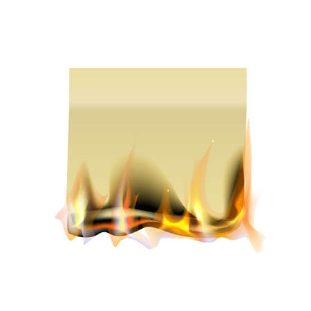 Sticky note, burning isolated on a white background. Template for your projects. Vector illustration.