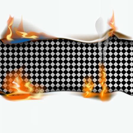 Paper sheet on fire. Flaming paper sheet. Vector illustration