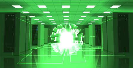 storage room: Server room illustration. Stock vector. Artificial intelligence Illustration