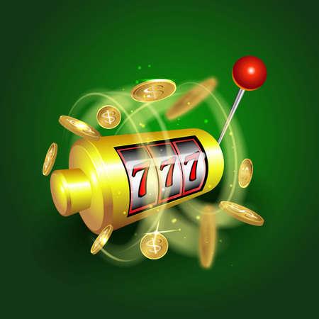 Fruitautomaat lucky sevens jackpot concept 777. Vector casino spel. Gokautomaat met geldmunten. Fortune chance jackpot Stockfoto - 90222907