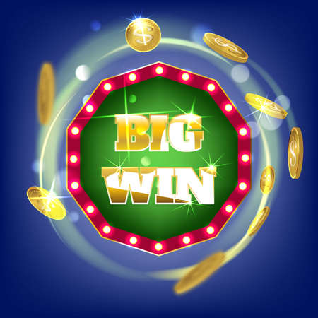 Online Big slots casino banner, tap to play button. Slots logo with flying coins, explosion bright flash, colored ads or splash screen for game. Vector illustration.