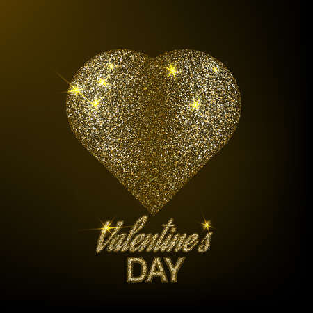 Textured gold surround a heart for design. Valentine's day.