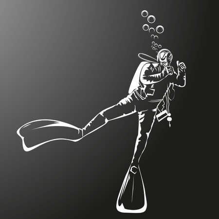 Silhouette of a diver vector illustration. Çizim