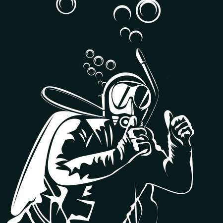 Silhouette of a diver. vector illustration, 2d design.