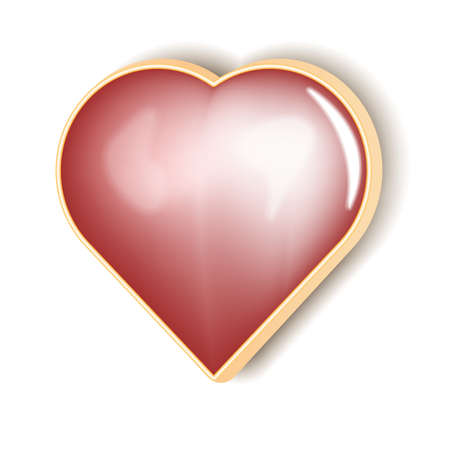 Realistic heart icon button. Red vector illustration. Иллюстрация