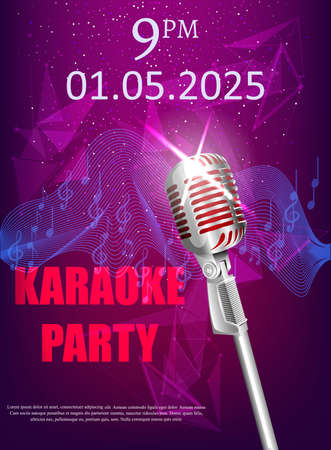 Colorful banner for restaurant or club with a microphone, and the words karaoke party. Illustration
