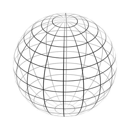 The frame of the earth is a simple black and white form. Vector. Ilustração