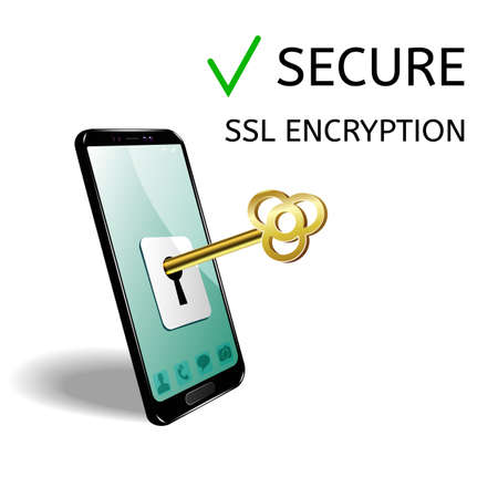 The concept of mobile phone protection. The phone image and key for opening and closing access to information. Illustration