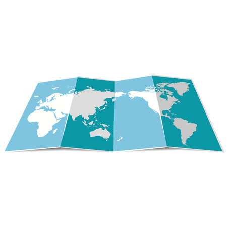 Blue folded world map for travel.