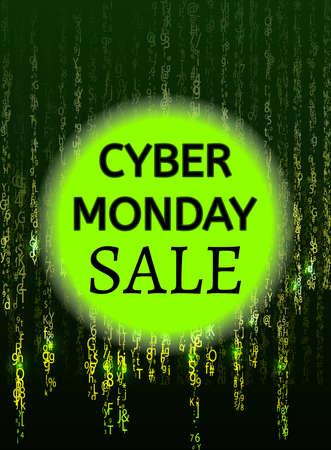 Cyber monday binary code design with text composition in vector. Big sale.