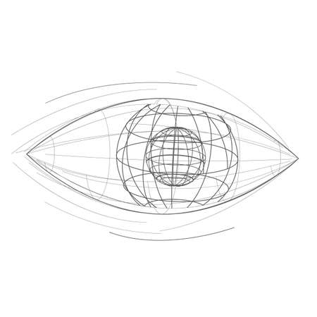 Vector eye icon. Hand drawn logo design template.