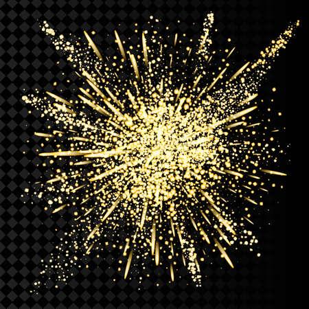 Gold glitter powder explosion. Golden dust and spark particles splash or shimmer burst. Illusztráció