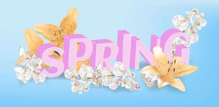Inscription Spring Time on background