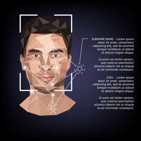 낮은 폴리 스타일의 얼굴에 생체 인식.
