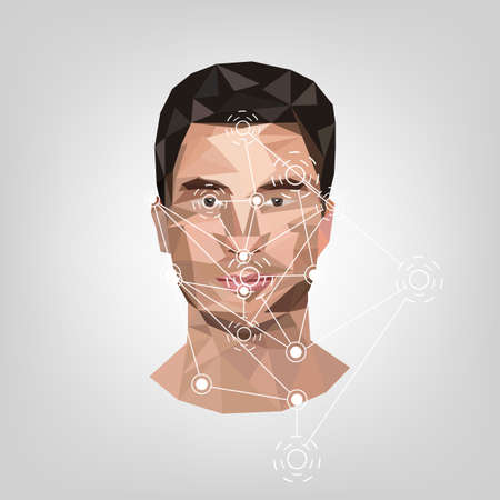 Biometric identification on face, in the style of low poly.