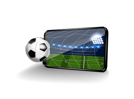 Football in the gate in the form of a mobile on a white background.