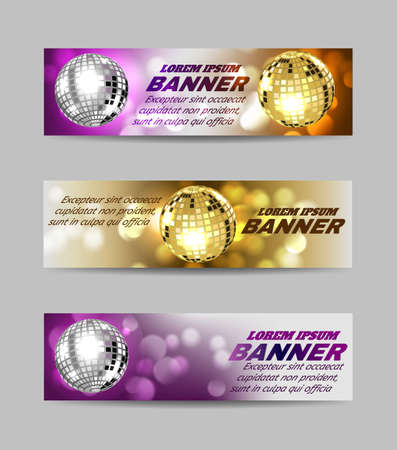 Set of banners bright mirror golden ball design for disco dance club.