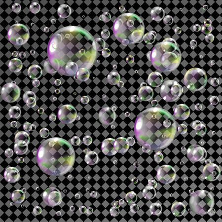 Realistic soap bubbles with rainbow reflection. Isolated on transparent background. Vector.