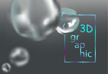 3D abstract background with water bubbles, vector illustration. Иллюстрация