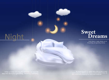 Vector illustration with realistic 3D pastel, blanket, pillow for best sleep, comfortable sleep. Soft pillow. Relaxation, sleep concept. Night, clouds stars background