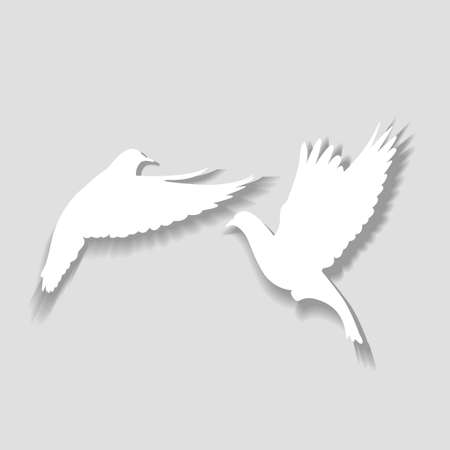 Two white pigeons take off, a symbol of love and happiness. Vector illustration.