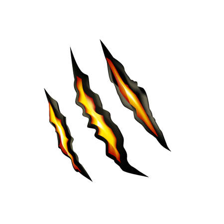 Claw marks, scratches on a white background with fire inside. Vector Stock Photo