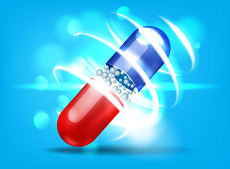 Open capsule with bokeh effect on blue background. Vector illustration. 스톡 콘텐츠