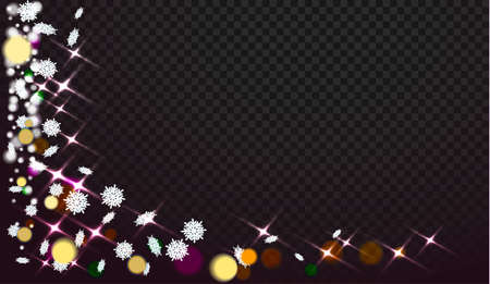 Snowflakes on a transparent background. Abstracts are now on Christmas design. Place for your text or photo. Vector illustration Illustration