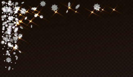 Snowflakes on a transparent background. Abstracts are now on Christmas design. Place for your text or photo. Vector illustration Ilustração