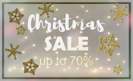 Christmas sale. Vector banner with hand lettering text and decorative elements.