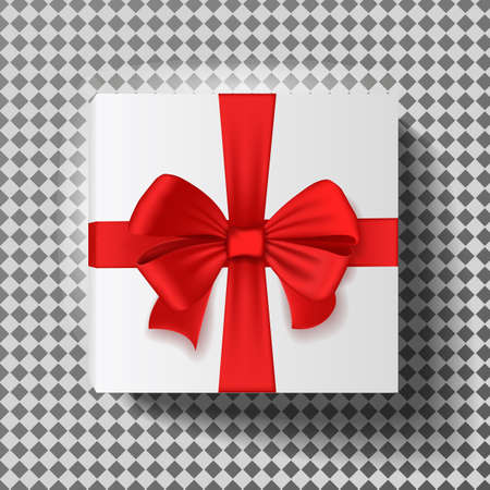 Gift box with red ribbon isolated on transparent background. Vector illustration. Ilustração