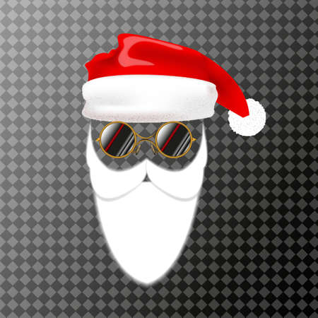 Mask of Santa Claus with a Christmas hat and beard. Vector illustration isolated.