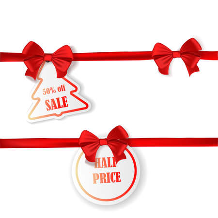 Set of New Year or Christmas Sale tags with red ribbon and bow isolated on white background. Vector illustration. Holiday decoration Stock Photo