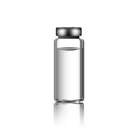 Glass Vial of In Injection Solution on white Background. Medications Diabetic. Vector Ilustração
