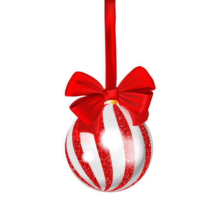 Christmas ball with red ribbon isolated on white background. Vector template. Christmas bauble.