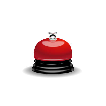 Realistic 3d Detailed Shiny red Metallic Reception Bell Call for Help and Assistance. Vector illustration.t