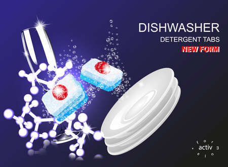 Dishwasher tablets isolated on the background of bubbles . Detergent vector illustration..