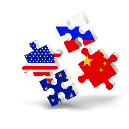 puzzle, flag, USA, EU China Russia opposition 3D vector Иллюстрация